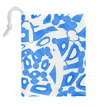 Blue summer design Drawstring Pouches (Extra Large) Back