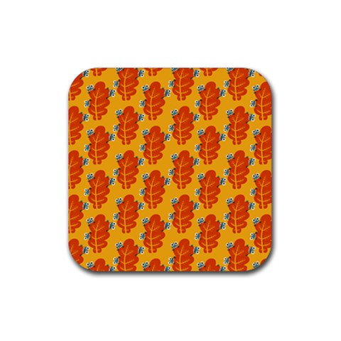 Bugs Eat Autumn Leaf Pattern Rubber Coaster (Square)