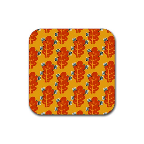 Bugs Eat Autumn Leaf Pattern Rubber Square Coaster (4 pack)
