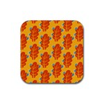 Bugs Eat Autumn Leaf Pattern Drink Coasters 4 Pack (Square) Front