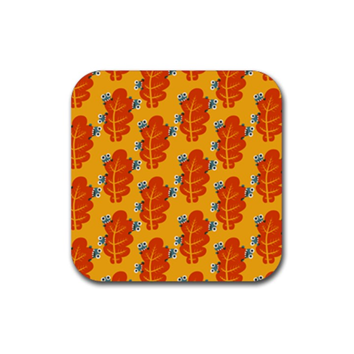 Bugs Eat Autumn Leaf Pattern Drink Coasters 4 Pack (Square)