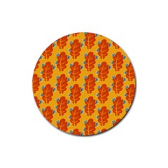 Bugs Eat Autumn Leaf Pattern Rubber Round Coaster (4 Pack)