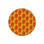 Bugs Eat Autumn Leaf Pattern Rubber Round Coaster (4 pack)  Front