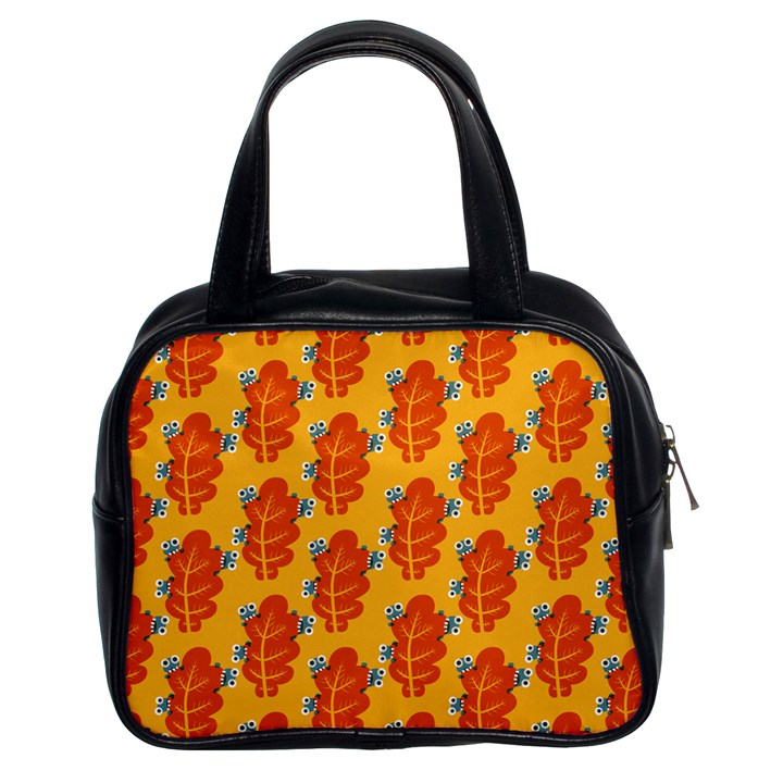Bugs Eat Autumn Leaf Pattern Classic Handbags (2 Sides)