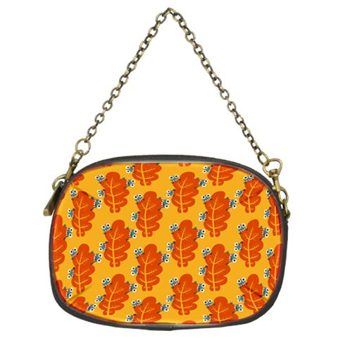 Bugs Eat Autumn Leaf Pattern Chain Purses (Two Sides)