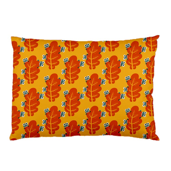 Bugs Eat Autumn Leaf Pattern Pillow Case