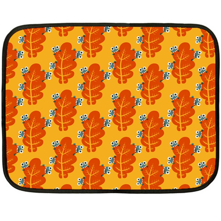 Bugs Eat Autumn Leaf Pattern Double Sided Fleece Blanket (Mini)
