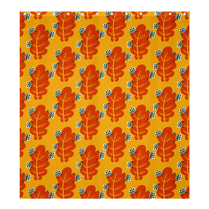 Bugs Eat Autumn Leaf Pattern Shower Curtain 66  x 72  (Large)