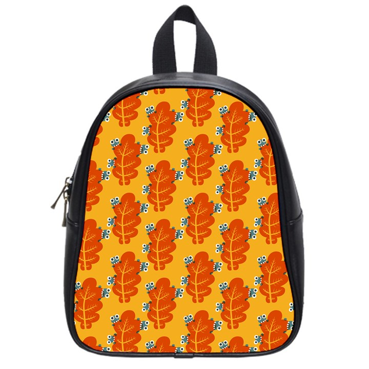 Bugs Eat Autumn Leaf Pattern School Bags (Small)