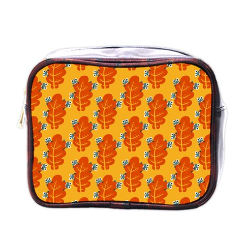 Bugs Eat Autumn Leaf Pattern Mini Toiletries Bags