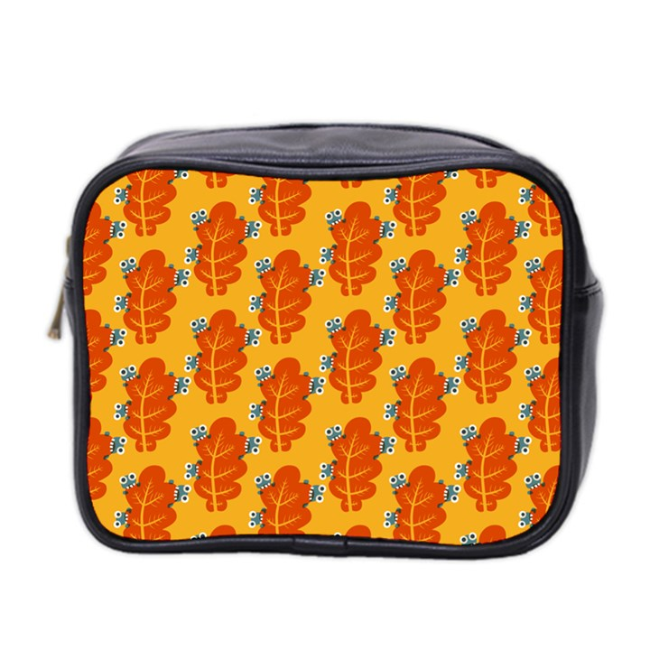Bugs Eat Autumn Leaf Pattern Mini Toiletries Bag 2-Side