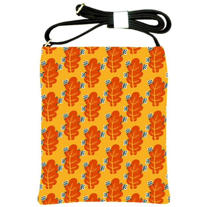 Bugs Eat Autumn Leaf Pattern Shoulder Sling Bags