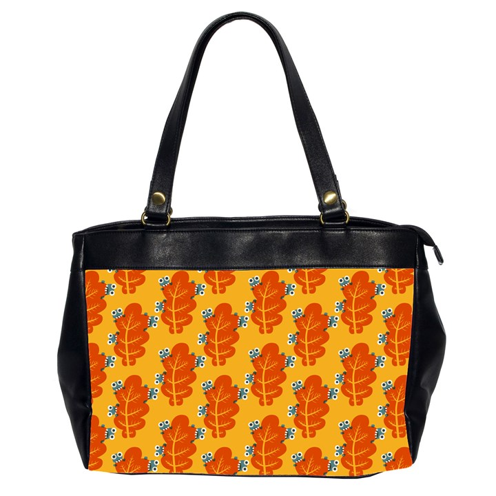 Bugs Eat Autumn Leaf Pattern Office Handbags (2 Sides)