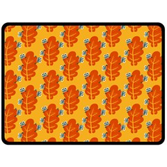 Bugs Eat Autumn Leaf Pattern Fleece Blanket (large)