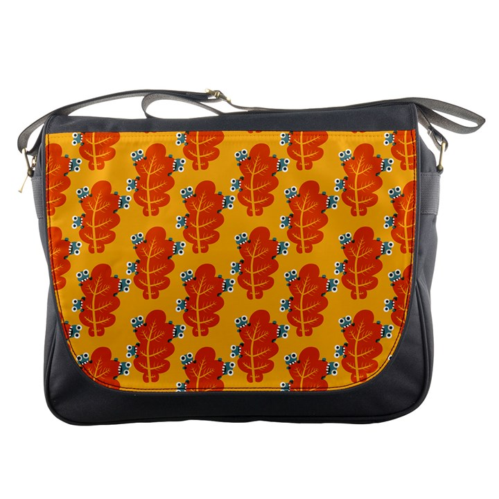 Bugs Eat Autumn Leaf Pattern Messenger Bags
