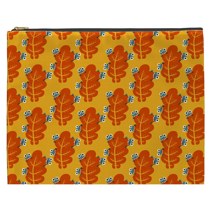 Bugs Eat Autumn Leaf Pattern Cosmetic Bag (XXXL)