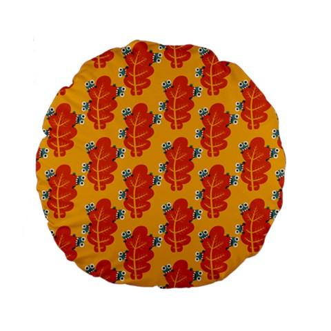 Bugs Eat Autumn Leaf Pattern Standard 15  Premium Round Cushions