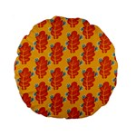 Bugs Eat Autumn Leaf Pattern Standard 15  Premium Round Cushions Back