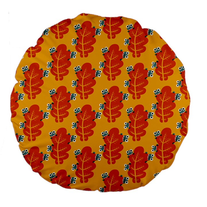 Bugs Eat Autumn Leaf Pattern Large 18  Premium Round Cushions
