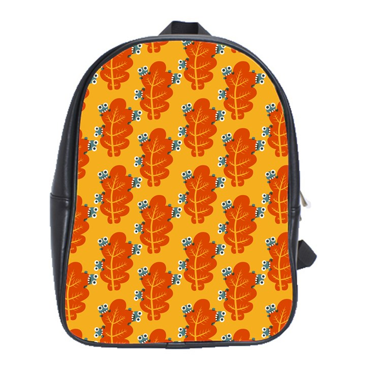 Bugs Eat Autumn Leaf Pattern School Bags (XL)