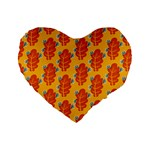 Bugs Eat Autumn Leaf Pattern Standard 16  Premium Heart Shape Cushions Front