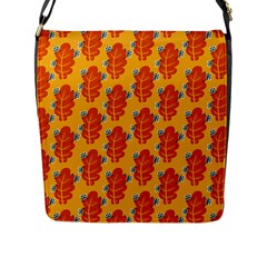 Bugs Eat Autumn Leaf Pattern Flap Messenger Bag (L)