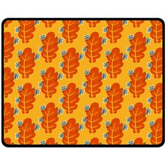Bugs Eat Autumn Leaf Pattern Double Sided Fleece Blanket (Medium)