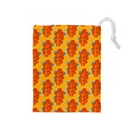 Bugs Eat Autumn Leaf Pattern Drawstring Pouches (Medium)  Front