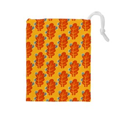 Bugs Eat Autumn Leaf Pattern Drawstring Pouches (Large)