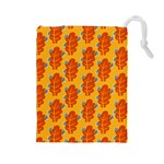 Bugs Eat Autumn Leaf Pattern Drawstring Pouches (Large)  Front