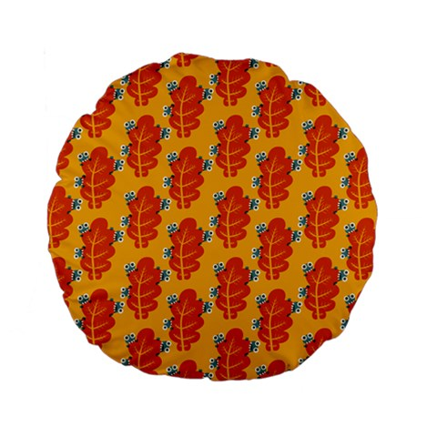 Bugs Eat Autumn Leaf Pattern Standard 15  Premium Flano Round Cushions