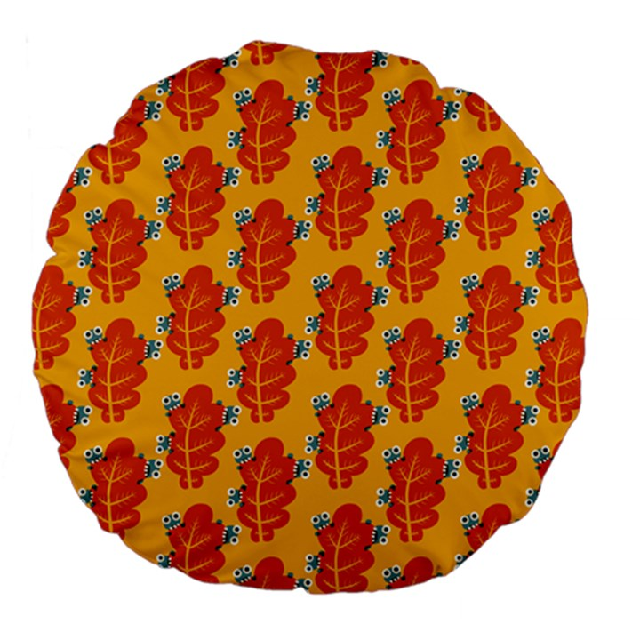 Bugs Eat Autumn Leaf Pattern Large 18  Premium Flano Round Cushions
