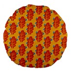 Bugs Eat Autumn Leaf Pattern Large 18  Premium Flano Round Cushions Back