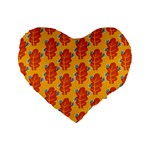 Bugs Eat Autumn Leaf Pattern Standard 16  Premium Flano Heart Shape Cushions Front