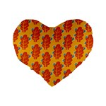 Bugs Eat Autumn Leaf Pattern Standard 16  Premium Flano Heart Shape Cushions Back