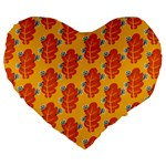 Bugs Eat Autumn Leaf Pattern Large 19  Premium Flano Heart Shape Cushions Front