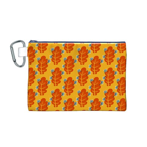 Bugs Eat Autumn Leaf Pattern Canvas Cosmetic Bag (M)