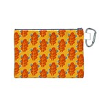 Bugs Eat Autumn Leaf Pattern Canvas Cosmetic Bag (M) Back