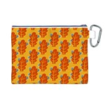 Bugs Eat Autumn Leaf Pattern Canvas Cosmetic Bag (L) Back