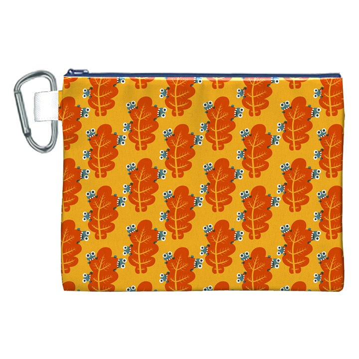 Bugs Eat Autumn Leaf Pattern Canvas Cosmetic Bag (XXL)