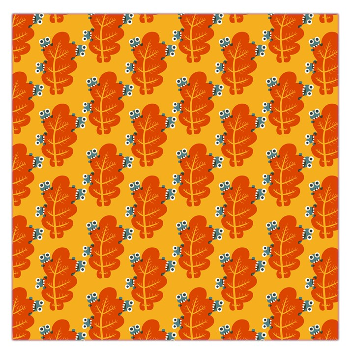 Bugs Eat Autumn Leaf Pattern Large Satin Scarf (Square)
