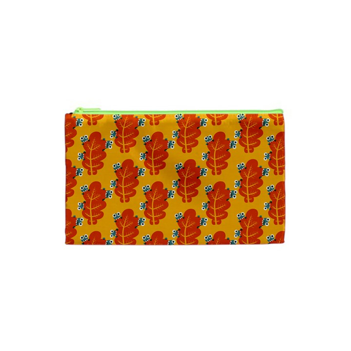 Bugs Eat Autumn Leaf Pattern Cosmetic Bag (XS)