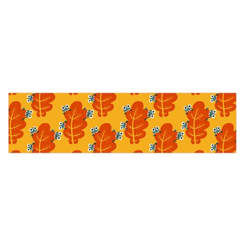 Bugs Eat Autumn Leaf Pattern Satin Scarf (Oblong)