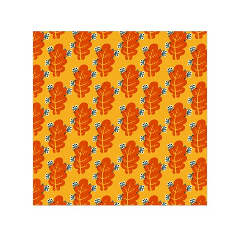 Bugs Eat Autumn Leaf Pattern Small Satin Scarf (Square)