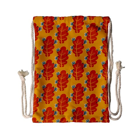 Bugs Eat Autumn Leaf Pattern Drawstring Bag (Small)