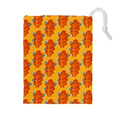 Bugs Eat Autumn Leaf Pattern Drawstring Pouches (extra Large)