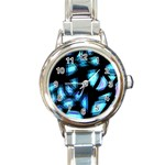 Blue light Round Italian Charm Watch Front