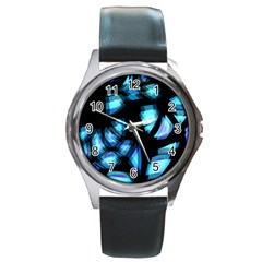 Blue light Round Metal Watch