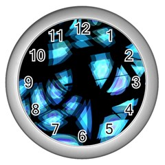Blue Light Wall Clocks (silver)