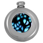 Blue light Round Hip Flask (5 oz) Front